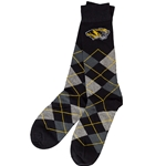 Mizzou Tiger Head Black Argyle Dress Socks