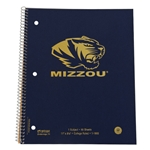 Mizzou Gold Tiger Head 1 Subject Spiral Notebook