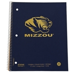 Mizzou Gold Tiger Head 3 Subject Spiral Notebook
