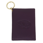 Mizzou Oval Tiger Head Purple Genuine Leather Inside & Outside Window ID Holder