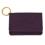 Mizzou Oval Tiger Head Purple Genuine Leather Purse ID Holder