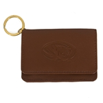 Mizzou Oval Tiger Head Brown Genuine Leather Purse ID Holder