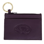 Mizzou Oval Tiger Head Purple Genuine Leather Pouch ID Holder