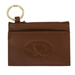 Mizzou Oval Tiger Head Brown Genuine Leather Pouch ID Holder