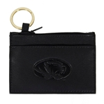 Mizzou Oval Tiger Head Black Genuine Leather Pouch ID Holder