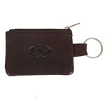 Mizzou Oval Tiger Head Brown Leather ID Holder & Keychain