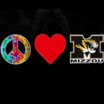 Mizzou Tiger Head Heart & Peace Decal