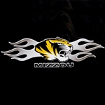 Mizzou Tiger Head Sliver Flames Decal