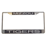 Mizzou Tigers White Carbon Fiber Chrome License Plate Frame