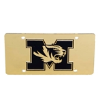 Mizzou Tiger Head Gold Acrylic License Plate