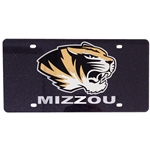 Mizzou Tiger Head Black Glitter Acrylic License Plate