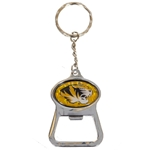 Mizzou Oval Tiger Head Gold Bottle Opener Keychain