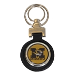 Mizzou Tiger Head Black Leather Keychain