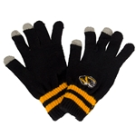 Mizzou Tiger Head Knit I-Touch Black Gloves