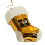 Missouri Tiger Head Gold Glass Stocking Ornament