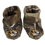 Mizzou Oval Tiger Head Camouflage Newborn Booties