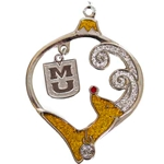 Mizzou Sparkling Reindeer with MU Charm Ornament