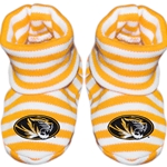 Mizzou Newborn Oval Tiger Head Gold Striped Booties