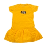 Mizzou Girls' Oval Tiger Head Skirt Gold Onesie