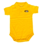 Mizzou Newborn Oval Tiger Head 2-Button Gold Polo Onesie