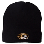 Mizzou Tiger Head Black Knit Beanie
