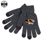 Mizzou Tiger Head iText Charcoal Grey Knit Gloves