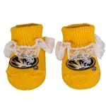 Mizzou Newborn Oval Tiger Head Gold Lace Booties