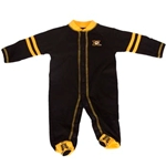 Mizzou Tiger Head Black & Gold Shoe Footed Bodysuit