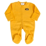 Mizzou Newborn Oval Tiger Head Fleece Gold Footed Romper