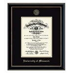 University of Missouri Official Seal Gold Embossed in Onyx PHD Diploma Frame