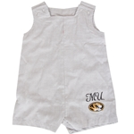 Mizzou Newborn Oval Tiger Head Grey Shortalls