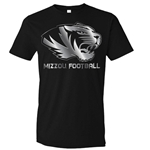 Mizzou 10Star Men's Platinum Football Black Crew Neck T-Shirt