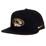 Mizzou Nike Oval Tiger Head Black Flat Bill Snapback