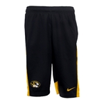 Mizzou Nike Oval Tiger Head Tonal Stripe Black & Gold Basketball Shorts