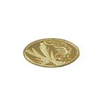 Mizzou Oval Tiger Head Gold Lapel Pin
