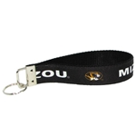 Mizzou Oval Tiger Head Black Keychain Wrist Loop