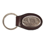 Mizzou Oval Tiger Head Brown Leather Keychain