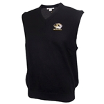 Mizzou Cutter & Buck Tiger Head Black V-Neck Sweater Vest