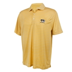 Mizzou Cutter & Buck Tiger Head DryTec Thin Stipe Old Gold Polo