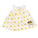 Mizzou Infant Tiger Head White Polka Dot Dress & Bloomer Set