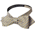 Mizzou Mini Madras Black & Gold Diamond Pattern Adjustable Self-Tie Bow Tie