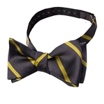 Mizzou Charcoal & Yellow Diagonal Striped Adjustable Self-Tie Bow Tie