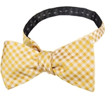 Gingham Checked Gold & White Adjustable Self-Tie Bow Tie