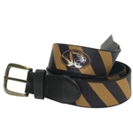 Mizzou Oval Tiger Head Black & Gold Belt