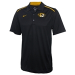 Mizzou Nike Oval Tiger Head Black Polo with Perforated Collar