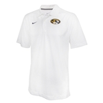Mizzou Nike Oval Tiger Head White Polo with Perforated Collar