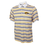 Mizzou Ping Oval Tiger Head Black & Gold Striped Polo