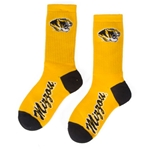 Mizzou Tiger Head Gold Socks with Black Toe & Heel