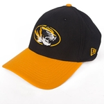 Mizzou New Era Oval Tiger Head Black Stretch-Fit Hat with Gold Bill