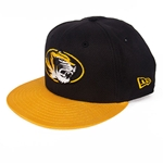 Mizzou New Era Oval Tiger Head Black Snapback with Gold Bill